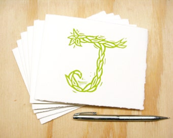 Letter J Stationery - Personalized Gift - Set of 6 Block Printed Cards