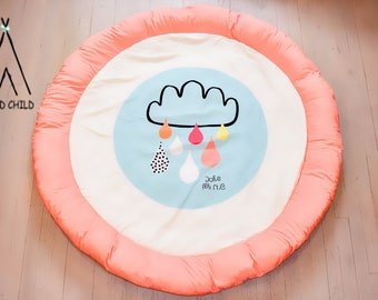 Orange, round, Cloud design, play mat, rug, extra padding, head bumper, baby play mat, tummy time, play time, baby shower gift,
