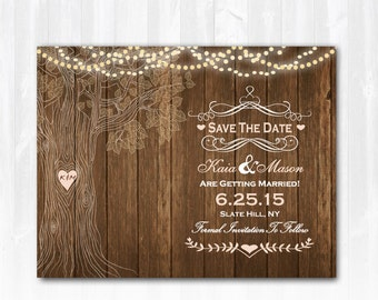 Tree Save The Date Rustic Save The Date Magnet Wood Save The Date Tree Heart Save The Date Country Save The Date Printable DIY Save The Date
