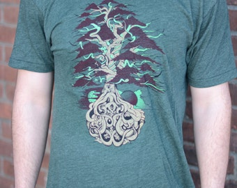 Funkadelic Family Tree T-shirt, Men's / Unisex American Apparel Heather Forest Tri-Blend Tee