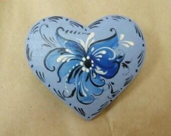 Norwegian Blue Rosemaled Heart Pin or magnet