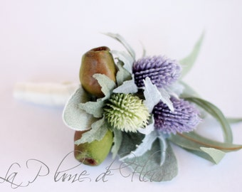 Men's Buttonhole, Boutonniere for groom, groomsmen.  Wedding, special occasion buttonhole. Mauve and green thistle, gumnuts, lambs ear