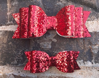 Red Glitter faux leather bow