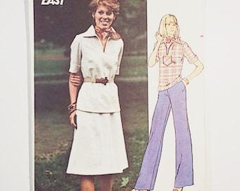 70s Pantsuit Pattern   Butterick 4695 Misses Top Skirt & Pants Pattern   70s Sewing Pattern