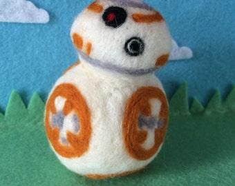 Bb-8 needle felted star wars inspired wool handmade ornament
