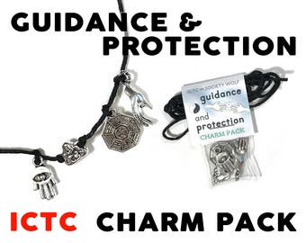 CHARM PACK // Guidance & Protection Mudras Hand Hamsa Laughing Buddha Bagua Charms Make Your Own Necklace Kit Gift Best Friends Charms Wish