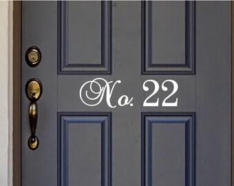 Custom House Number Vinyl Door Decal - Front Door Decals, Home Office Decorations, Custom House Number Vinyl Decals, Numbers, 10.25-22.2x3.8