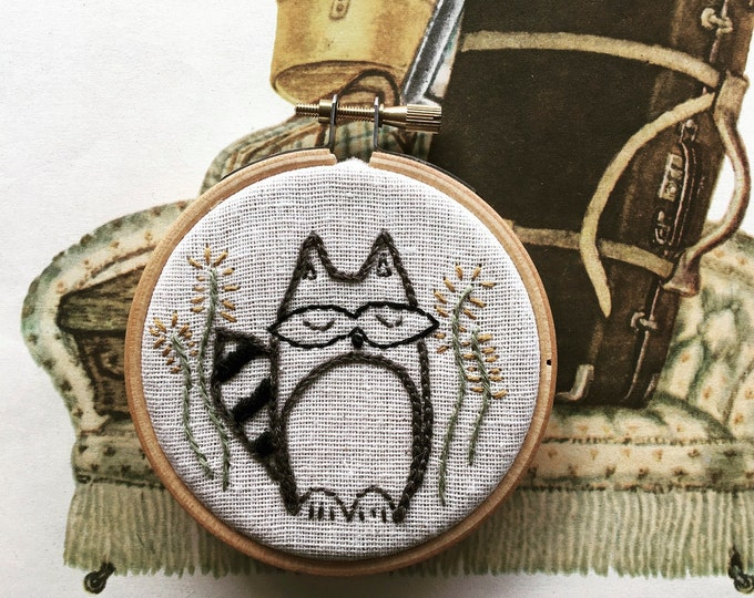 hand embroidery kit | hand embroidery | modern embroidery kit | DIY embroidery kit | roly - poly raccoon