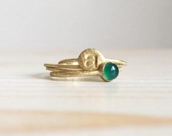 tiny rings set in 18k green gold - handmade tiny gold rings - RINGS KIT