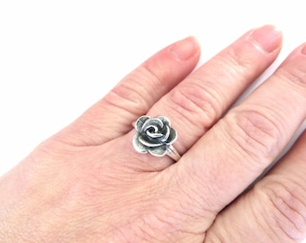 Rose Ring, flower Ring Silver Rose Ring Sterling Silver Finish