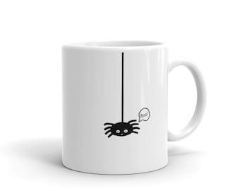 Halloween Spider Boo Mug (web, scary, coffee, tea, kids, cute, children, Halloween gift, gifts for kids, trick or treat)