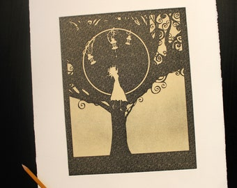 "Sepia ""Hiding Darkness"", Art print - Chalcography - intaglio etching, aquatint and photogravure"