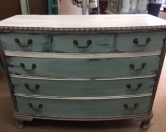 Taupe ~~Seaglass Green~~ Creme ~~4 Drawer Dresser