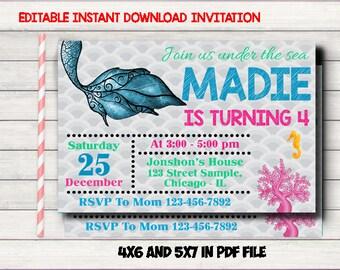 Mermaid Editable Invitation, Mermaid Birthday Invite, Mermaid Printable Party, Mermaid Birthday Party, Mermaid Instant Download Invitation