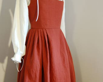 LINEN Kirtle, peasant, lower or middle class dress, gown, for Elizabethan or Renaissance reenactment, rust colored, ready to ship