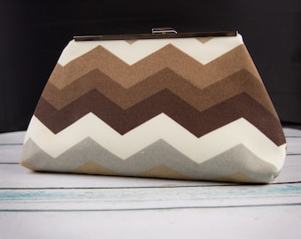 Brown Chevron Clutch Bag