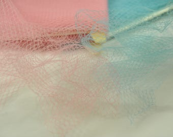 """Pink or Blue Soft French Net/Veiling 9"""" wide"""