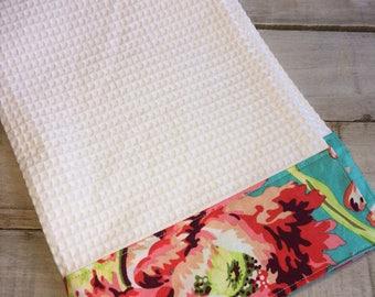 Kitchen Towel, Hand Towel, Tea Towel, Waffle Weave Towel, Dish Towel, Kitchen Hand Towel-Aqua Floral-Amy Butler
