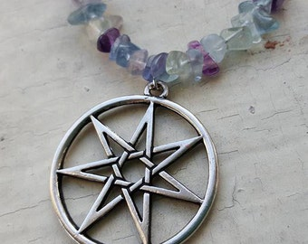 SALE - Rainbow Fluorite Seven Pointed Faery Star Septagram Necklace