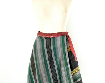 reversible kantha wrap skirt, kantha skirt, size small