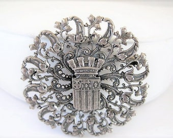 French Brooch, Heraldic Coat of Arms, Silver Filigree Metal, Provence Shield, Trombone Clasp
