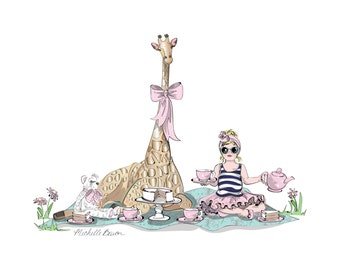 5 by 7 Children's Fashion Illustration Art Print featuring little girl having a tea party with her teddy bear and giraffe