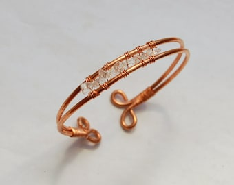 Copper and Clear Quartz Bracelet/Bangle Wire Wrapped