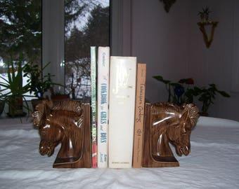 Horse Bookends Ceramic 1969 Vintage