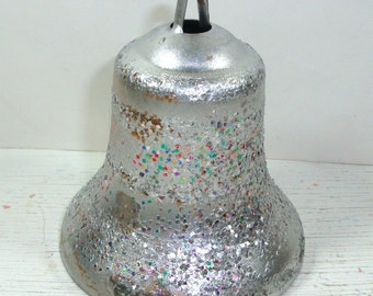 Vintage Silver Bell Christmas Ornament, Retro, Glitter, Plastic Tree Ornament, Holiday Decor
