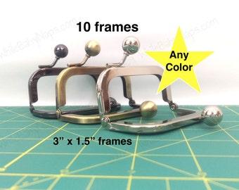 10 of 3x1.5 nickel metal coin purse frames
