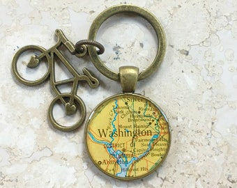 Bicycle Charm Keychain Custom Maps
