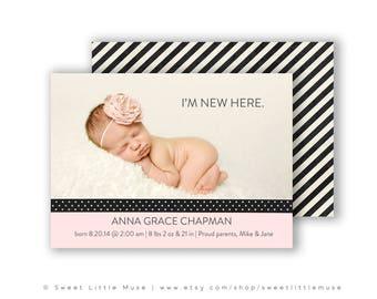 modern girl birth announcement template 5x7 birth
