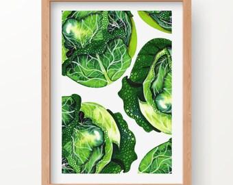 FOOD ART - cabbage print