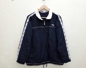 Fila windbreaker jacket casual sports Navy Blue Side Tape Large size