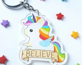 Rainbow unicorn key chain, cute unicorn key ring, kawaii unicorn, cute rainbow unicorn, unicorn lover gift, fairy kei, gift for her