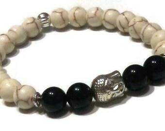 Cream Magnesite Black Agate Buddha Bead Meditation Bracelet