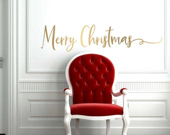 Gold Christmas Decal  // Christmas Door Decoration //  Merry Christmas  Decal  // Merry Christmas Door Decal  // Farmhouse Christmas