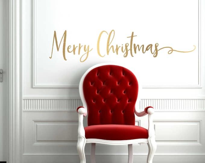 Gold Christmas Decal  // Christmas Door Decoration //  Merry Christmas  Decal  // Merry Christmas Door Decal  // Farmhouse Christmas