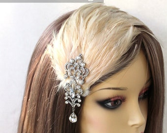 Antique Ivory feather fascinator with Diamond crystal chandelier brooch (5 fastener option) vintage bridal headdres for 1920s look,