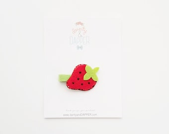 Strawberry Hair Clip / Baby Strawberry Hair Clip / Summer Baby Hair Clip / Summer Hair Clip / Photo Prop/ Gift for Girl / Strawberry Party