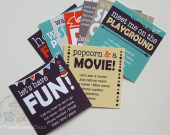 Play Date Invite | Printable Invitations | Sleepover, Movie, Park, Playdate | Editable Digital PDF - You type your info & print!