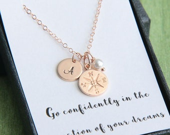 Inspirational Necklace, Inspirational Gift, Rose Gold Compass Necklace, Personalized Necklace, Graduation Gift for Her, College Graduation