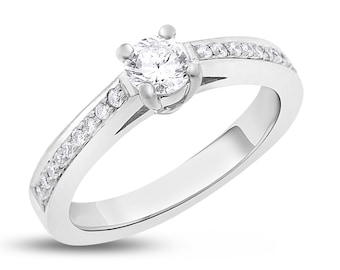 0.58 Ct. Classy Round Cut Natural Diamond Engagement Ring In Solid 14k White Gold