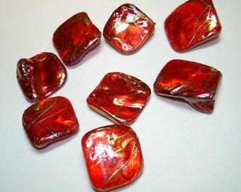 Orange AB Drawbench Nugget Shell Beads (Qty 8) - B1495