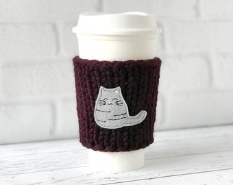 Cat Coffee Cozy, Chunky Coffee Cozy, Knit Coffee Cozy, Cat Lovers Gift, Cat Applique Coffee Cozy, Teacher Gift, Mother's Day Gift