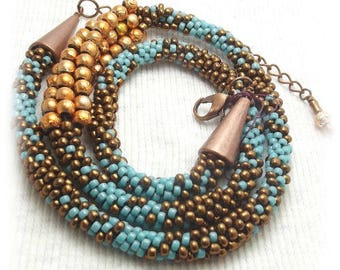 Beadwork choker necklace kumihimo braid in turquoise and copper seed beads southwestern cowgirl style