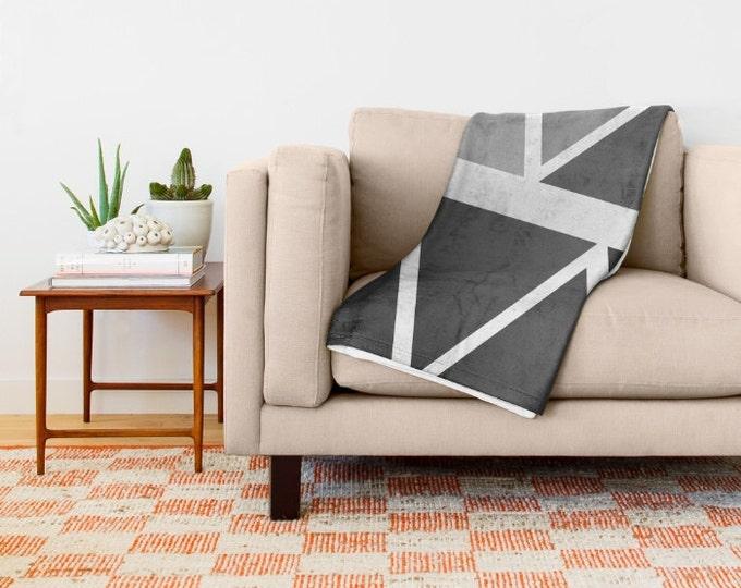 Black Ombre Fleece Throw Blanket - Bedding -Black to Grey Throw Blanket - Fleece Blanket - Made to Order