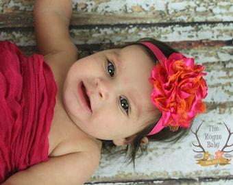 Hot Pink & Orange bandeau - Baby Girl Summer Party - Satin et dentelle filles fleur