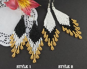 Statement Jewelry Mother gift Black gold earrings Bohemian earrings Beaded boho earrings Gold black earrings Evening earrings Fashion