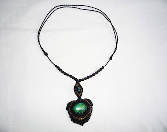 Necklace with chrysocolle green blue